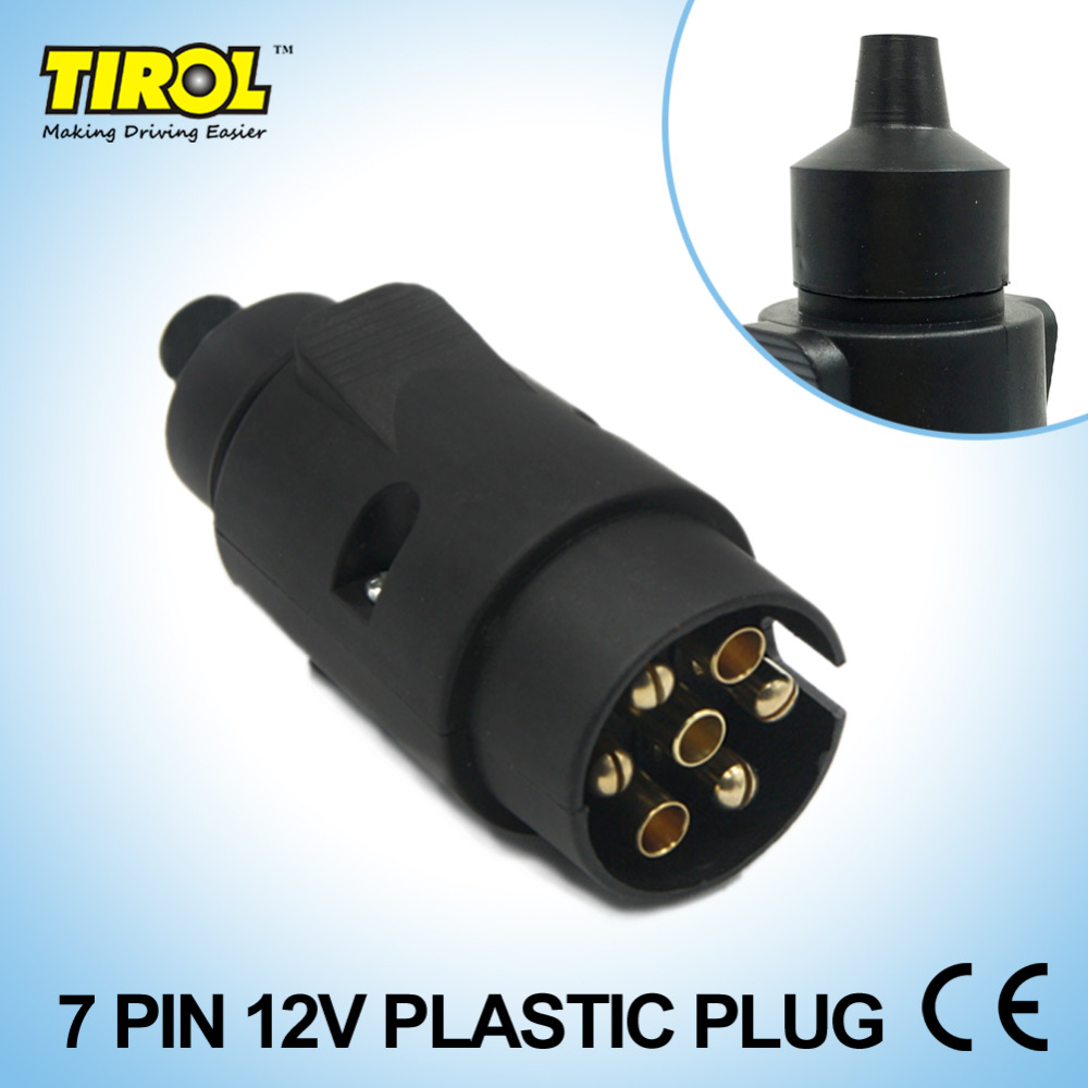 Tirol 7 Pin Trailer Plug Black Plastic Pole Wiring Connector 12v A Socket Towbar Towing N Type End T13431b In Couplings Accessories From