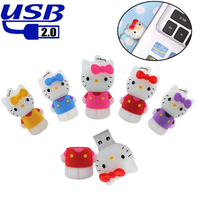 Capacidade Real USB Flash Drive Pen Drive Memory Stick USB 2.0 GB 64 32GB 128MB USB Pendrives USB caneta Vara Chave Clef USB Cute Cat