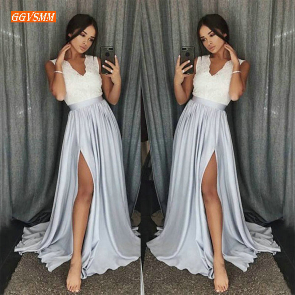 Fashion Silver Women Long Prom Dresses 2019 Orange Formal Dress Party V-Neck Elastic Satin Floor Length Side Slit Evening Gown