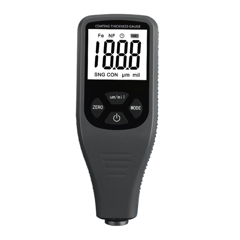 TC200 LCD Digital Thickness Gauge Coating Meter Car Thickness Meter Thickness Tester Measuring Range 0~1300um with Backlight tm09a high precision digital copper foil thickness tester gauge for pcb copper clad meter lcd backlight 0 oz to 2 oz