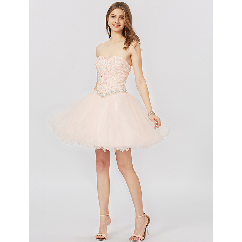 TS Couture Princess Sweetheart Short Mini Lace Tulle Cocktail Party Dress With Appliques Crystal Detailing Bandage
