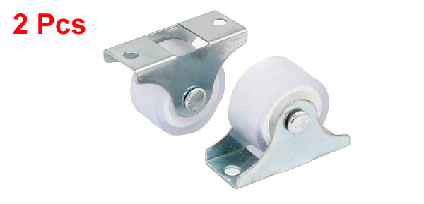 Furniture Chair Metal Top Plate Fixed Caster Wheels Silver Tone 1 Dia 2 Pcs 1 silent plastic fixed castor wheels diy silicone caster 10pcs