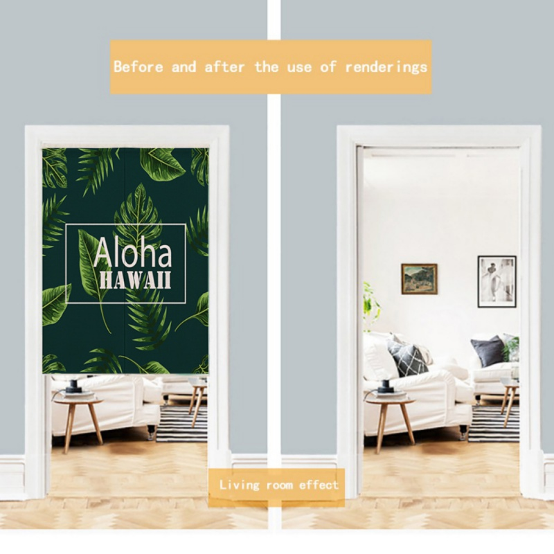 For Home Decoration Plant Green Leaves Printed Japanese Style Noren Doorway Curtain Hanging Tapestry
