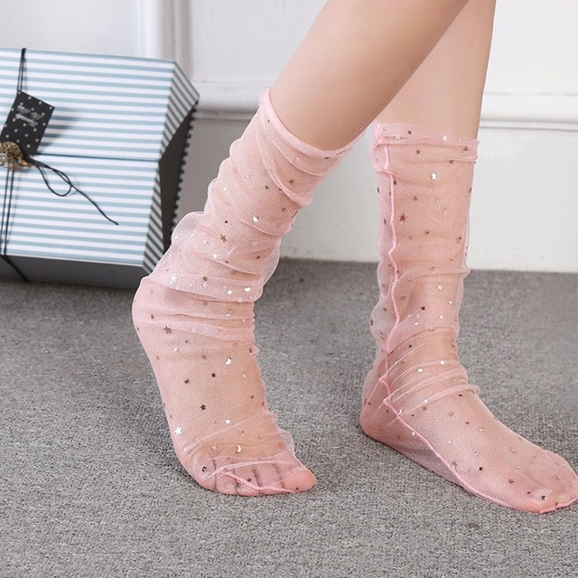 72131714b 1Pair 2018 Newest Sexy Women Glitter Thin Soft Star Sheer Mesh Tulle Socks  Transparent Ultrathin Fishnet