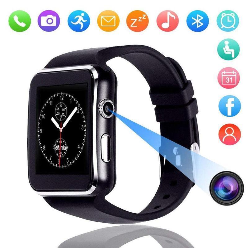 Chegada nova x6 relógio inteligente com tela de toque da câmera apoio sim tf cartão bluetooth smartwatch para iphone xiaomi android telefone