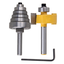 2Pcs Cemented Carbide Rabbet Router Bits 1/4 Shank with 6 Adjustable Bearing