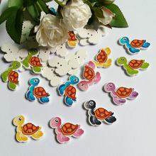 50Pcs Random Mixed Decorative Buttons Lovely Turtle 2 Holes Pattern Sewing Natural  wooden Back Scrapbooking