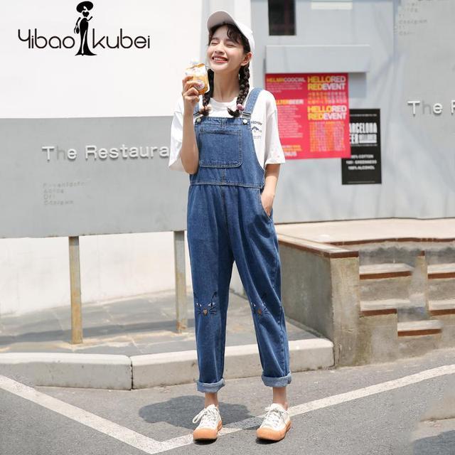 3aff805e10e 2018 Women Jeans Jumpsuit Denim Overalls Harem Pants Korean Fashion Loose  Slim High Waist Blue Casual Cat Embroidery New Kz71416. Price