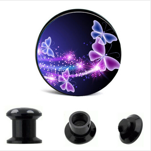 pretty Purple Butterfly Logo Ear Gauge Plug And Tunnel earring cartilage for punk style body ear piercing jewelry
