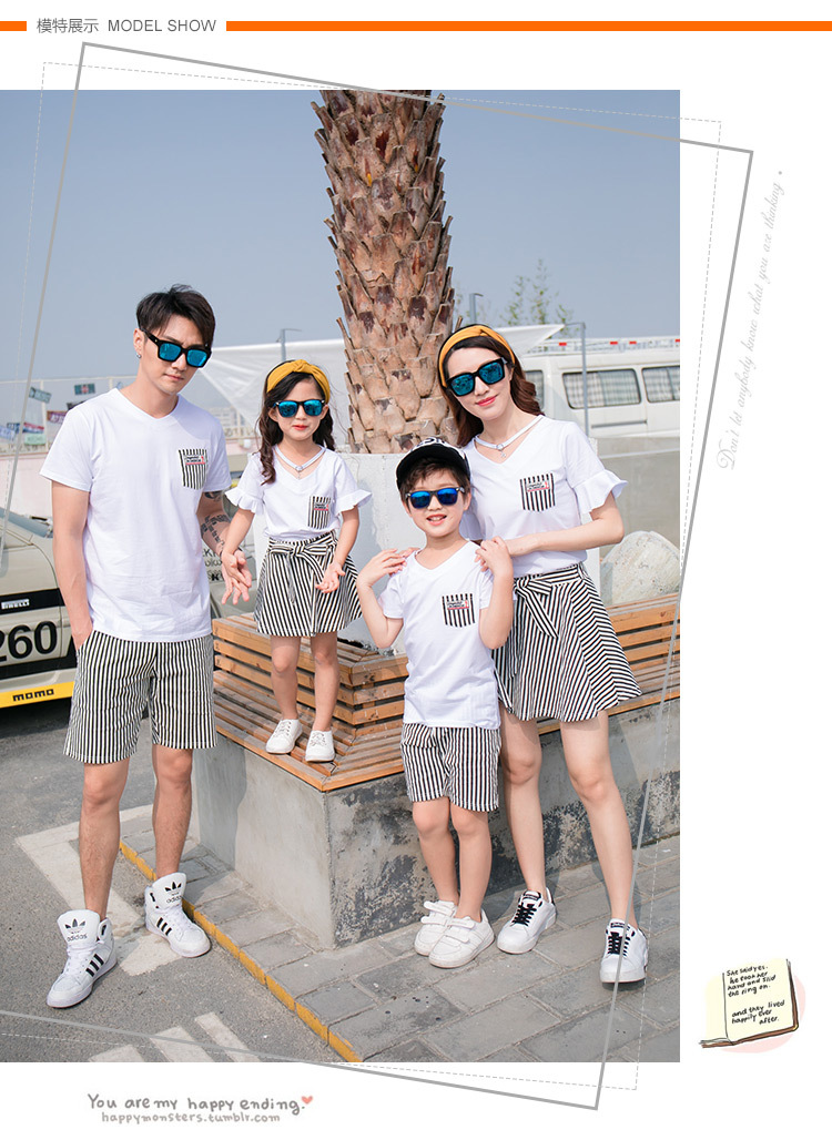HTB1kLo4gb1YBuNjSszeq6yblFXaD - Fashion Summer Family Matching Outfits White V Neck T - Shirt With Stripes Shorts/Skirts Mother Dad Son Daughter Clothes Sets