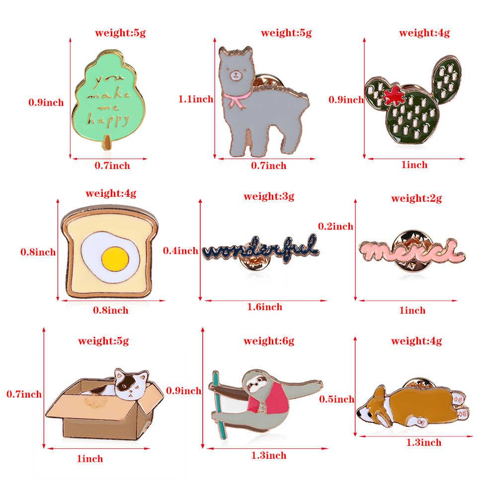 2019 漫画ブローチサボテン木トーストアルパカトーストコーギーピンバッジコーギーナマケモノアルパカ猫エナメルピンラペルピン女性男性
