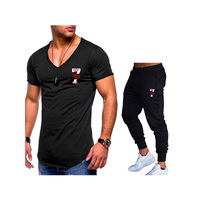 2019 Quality Men's Sets T Shirts+Pants Men Brand Clothing Two Piece Suit Tracksuit Fashion Casual Tshirts Gyms Workout Fitness