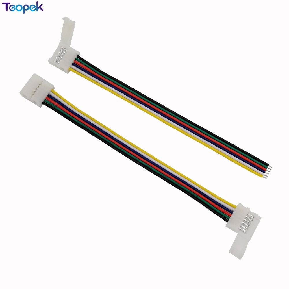 10pcs 6pin RGB CCT LED Connector 6 pin 12mm Width Solderless Adapter For RGB+CCT LED Strip 1 Clip Or 2 Clip Easy Connector 1m 2m 5m 30cm 4 pin rgb led connector extension cable cord wire with 4pin connector for rgb led strip light free shipping