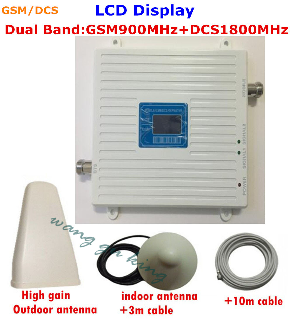 FULL SET High Gain Dual Band GSM 3G 4G Cell Phone Signal Booster GSM 900mhz DCS 1800mhz Mobile Phone Signal Repeater AmplifierFULL SET High Gain Dual Band GSM 3G 4G Cell Phone Signal Booster GSM 900mhz DCS 1800mhz Mobile Phone Signal Repeater Amplifier