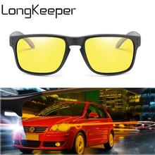 LongKeeper New Night Vision Driver Sunglasses Rivet Polarized Sun Glasses Yellow lens Driving Safe Male Goggle Oculos De Sol