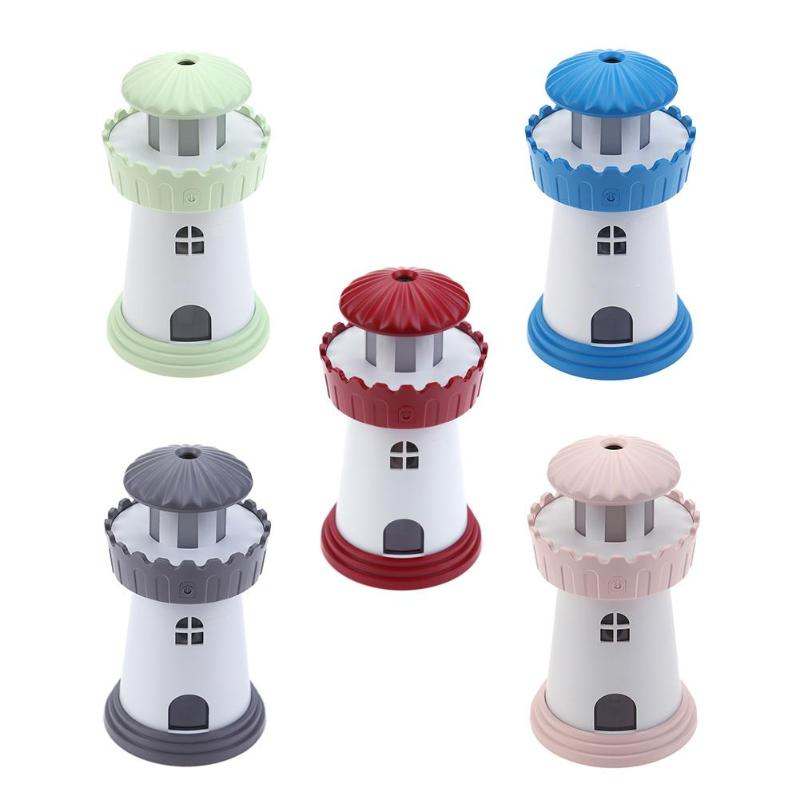 150ML Lighthouse Mini USB Ultrasonic Humidifier for Home Office Desk Air Purifier Fantasy Night Light Fog Maker