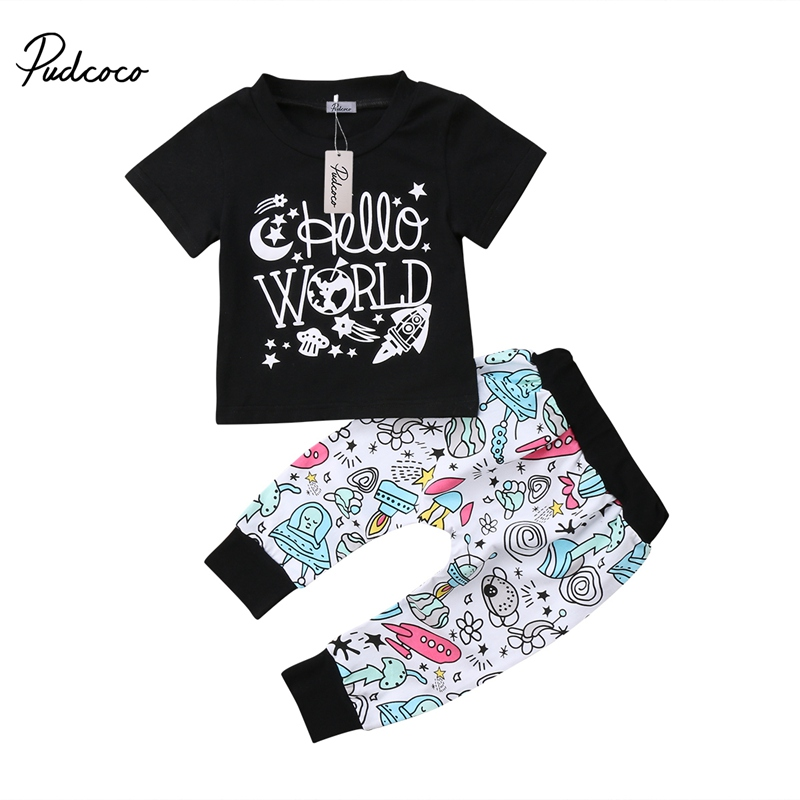 Newborn Baby Boys Girls New Fashion Casual Letter Print Short-Sleeve T-shirt Tops+Pants Outfit 2pcs Sets 0-24M HOT SALE