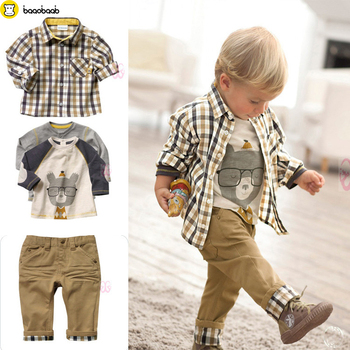 BAAOBAAB 3Pcs Baby Boy Clothing Boys Suit Boys Clothes Children Set Plaid Shirt Jacket Infant Coats White Shirt Boys Trousers одежда на маленьких мальчиков
