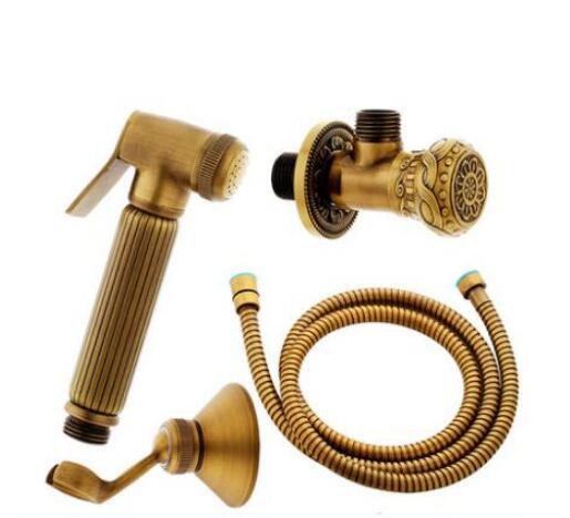 Antike Messing Hand Bidet Spray Brausegarnitur Kupfer Bidet Sprayer Lanos Wc Bidet Wasserhahn Toilette Gun Torneira Ducha 4 stücke