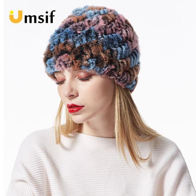 58abd7afa6a7c 2018 New Brand Winter Women Real 100% Rex Rabbit Fur Hat Women s Handmade  knitted Thick
