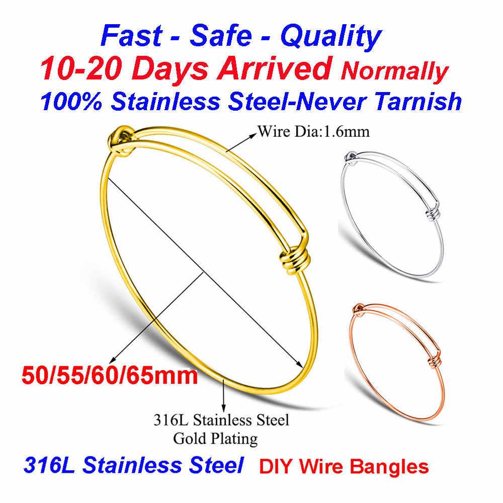 20 sztuk/partia 100% ze stali nierdzewnej DIY Charm bransoletka 50-65mm biżuteria znalezienie dostaw rozbudowy regulowana bransoletka z drutu hurtownie