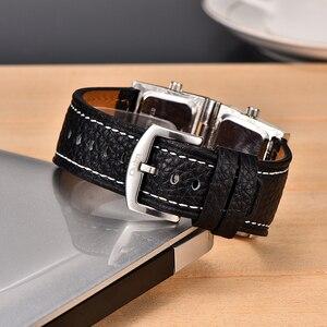 Image 5 - Yeni Erkek Çift Ekran Spor Saatler Oulm Erkekler Izle Kat Büyük Boy Moda Açık Saat Deri quartz saat Relogio Masculino