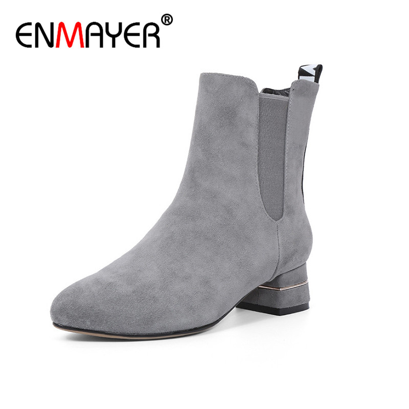 ENMAYER Ankle Boots for Women Spring/Autumn and Winter Boots Platform Woman Plus Size 34-43 Round Toe Motorcycle Boots Shoes enmayla ankle boots for women low heels autumn and winter boots shoes woman large size 34 43 round toe motorcycle boots