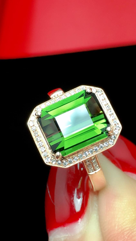 Fine Jewelry Real Pure 18 K Gold Jewelry 100% Natural Green Tourmaline Gemstones 3.2ct Diamonds Male's Wedding Fine Man's Rings