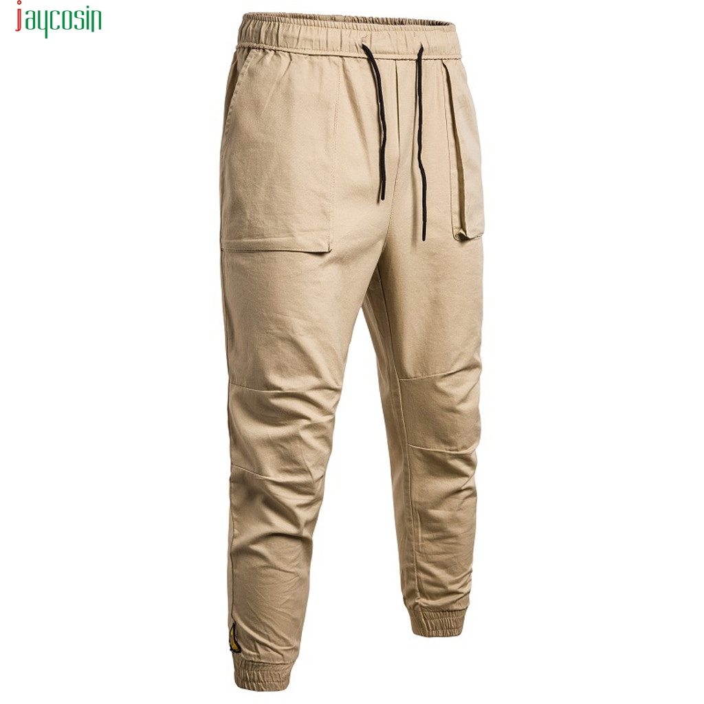 Jaycosin Men's Fashion Trend Loose Cargo Pants Casual Safari Style Trousers Solid Long Pants Pantalones Multibolsillos New(China)