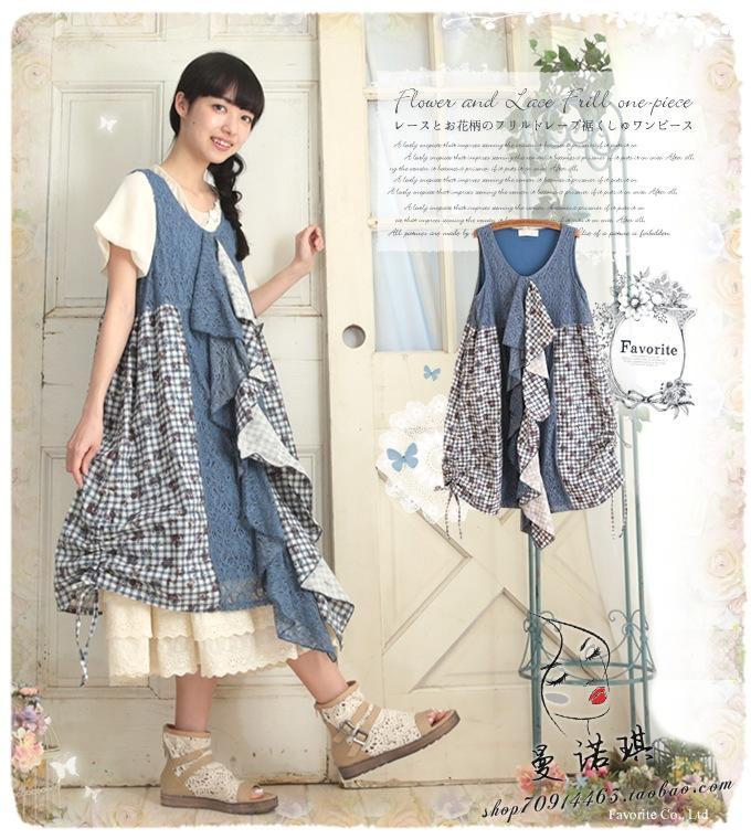 Buy spring patchwork plaid lace tank dress vestido manga longa tunique femme - Tunique de plage femme ...