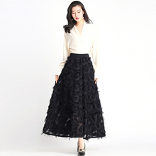 2019 New Feather Tassel Skirts Womans Fashion Elastic Waist Long High Waist Skirt Vintage Graceful Black Midi Female Skirt Saias
