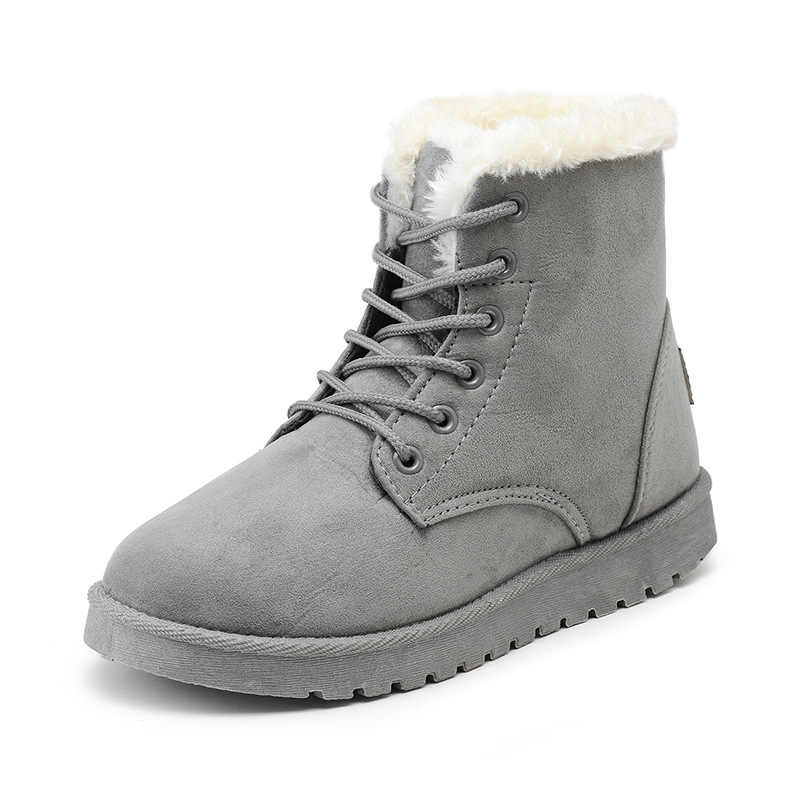Women Boots 2019 New Snow Boot Suede Plush Ankle Boots Women Shoes Thick Warm Lace Up Round Toe Winter Boots Women