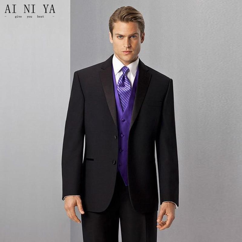 Men's suits New Custom Made Black Men Suits with Purple Vest Wedding Suits Groomsmen Tuxedos
