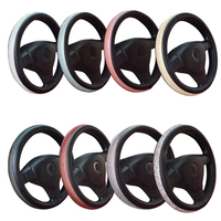 New Auto interior Accessories For women's girls Crystal rhinestone car Leather steering wheel covers Caps steering wheel cover