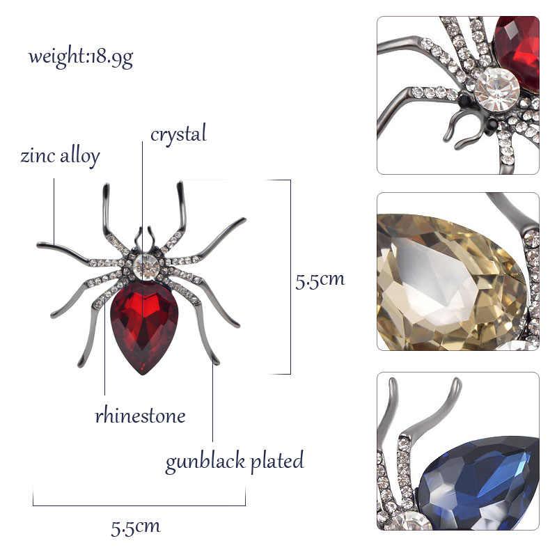 Cindy Xiang 3 Warna Memilih Laba-laba Kristal Bros untuk Wanita Fashion Gun-Hitam Berlapis Serangga Bros Pin Perhiasan Indah hadiah