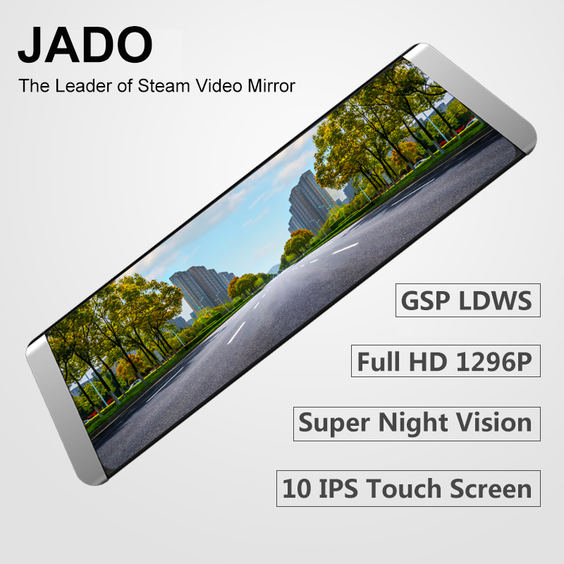 JADO D800 Car Dvr Stream Rearview Mirror Camera LDWS GPS Track 10 IPS Touch Screen Full HD 1080P Car Dvrs Recorder Dash cam цена 2017
