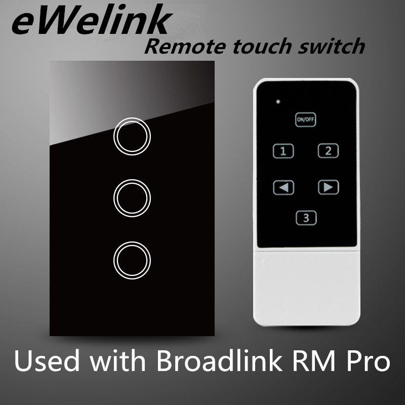 US Standard wireless remote control switch, Crystal glass wall light switch For RF433 Smart home Comaptible Broadlink Pro smart home uk standard crystal glass panel wireless remote control 1 gang 1 way wall touch switch screen light switch ac 220v