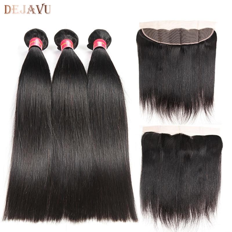 Brazilian Straight Human Hair 3 Bundles With Frontal Brazilian virgin hair Lace Frontal Closure With Bundles Dejavu Hair