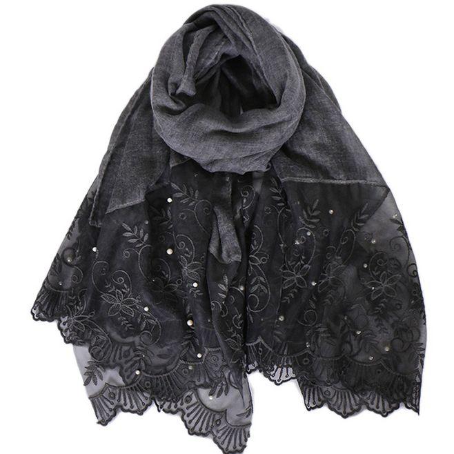 Купить однотонный цветной кружевной шарф с жемчужинами мусульманская