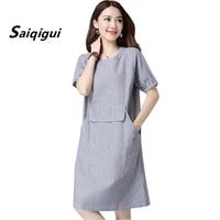 Saiqigui 2018 Fashion Summer Dress Women Chinese Style Short Sleeve Casual Loose Plus Size Cotton Linen