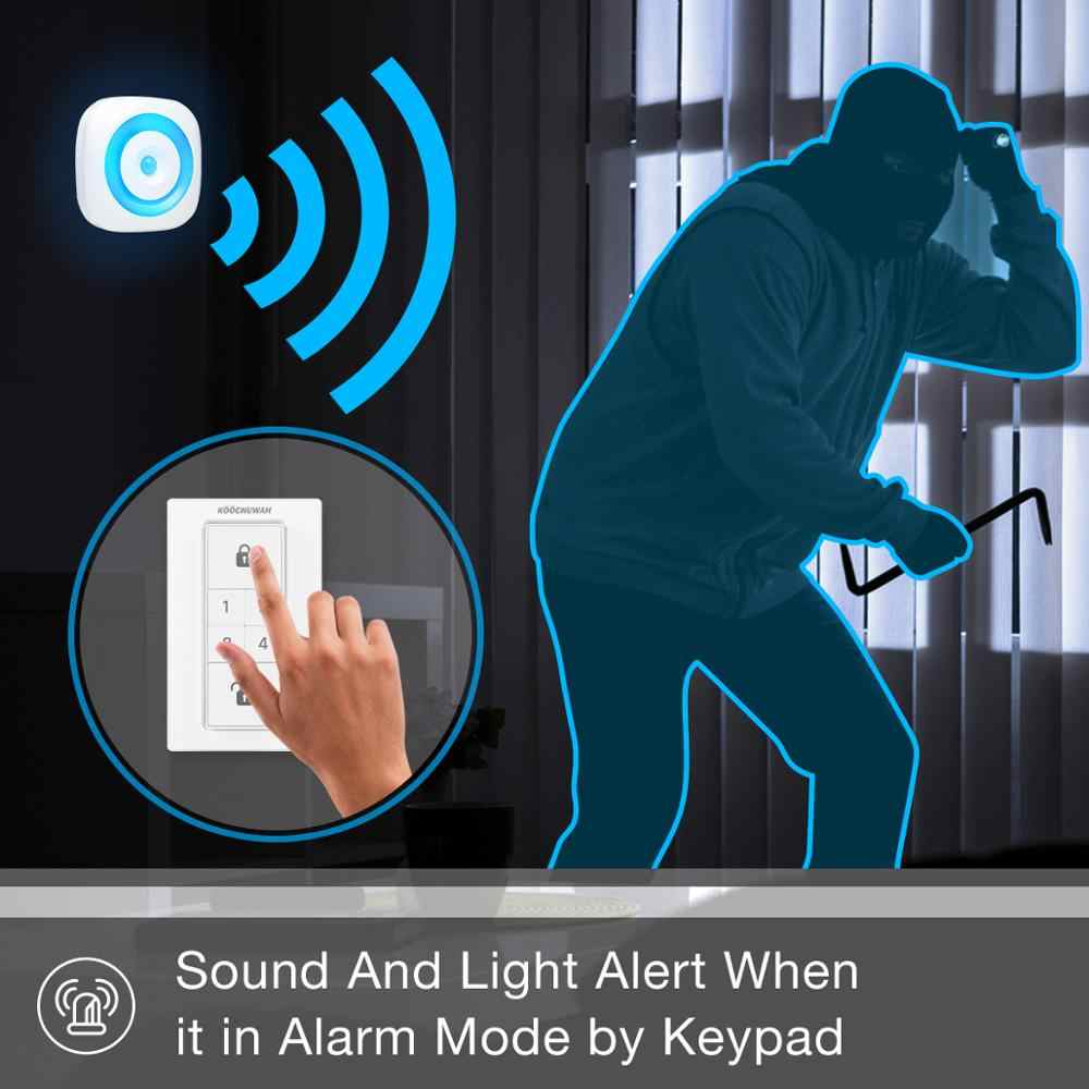 KOOCHUWAH לילה אור חיישן תנועה אלחוטי אזעקת תנועת גלאי PIR חיישן עם קטן פעמון ופאניקה אזעקה לבית