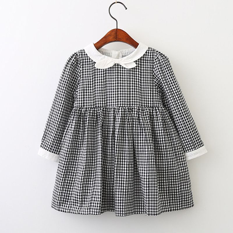 Kid baby clothing Dress 2018 New Preppy Autumn Style Girls Dress Long-Sleeve Bow Princess Dress Design Kids Clothes Party Dress