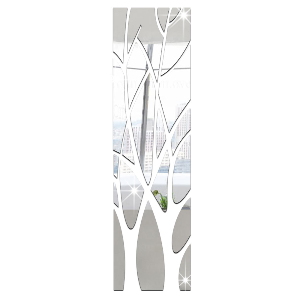Acrylic Mirror Wall Stickers Tree Shape 11.56x53.14inch 3D DIY Wall Sticker Decoration for TV Background Home Decor Modern Art