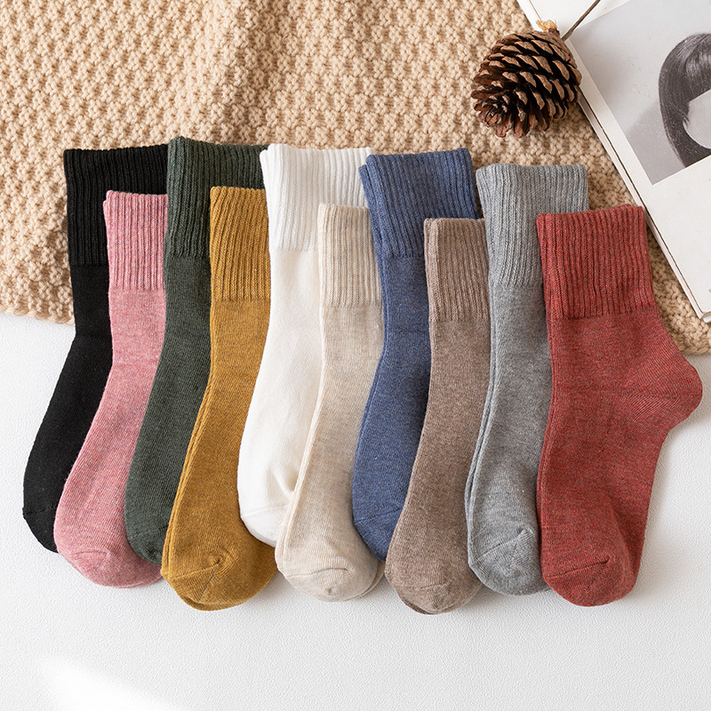 Autumn And Winter Socks Japanese Style Plain Color Women's  Cotton Warm And Comfortable Socks