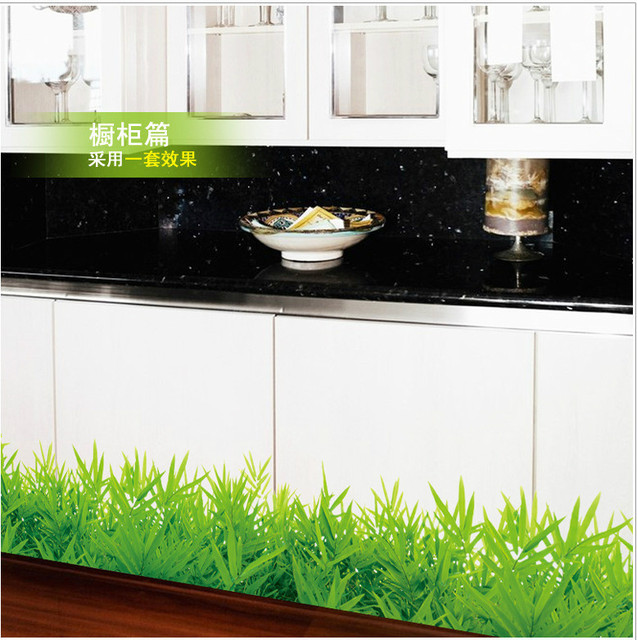 Fresh color green grass plant waist line paint wall sticker home decor skirting line for bathroom