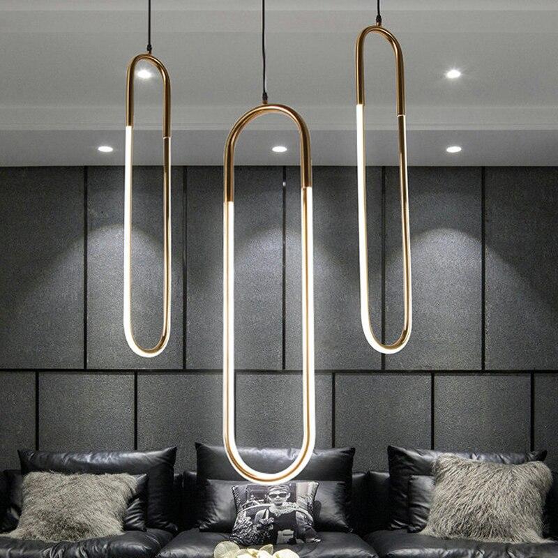 Economia De Energia moderna Luminária 220 v Ferro U Estilo Luminária Para Bar Sala de Estudo Luzes Lâmpada Pingente de Ouro quarto