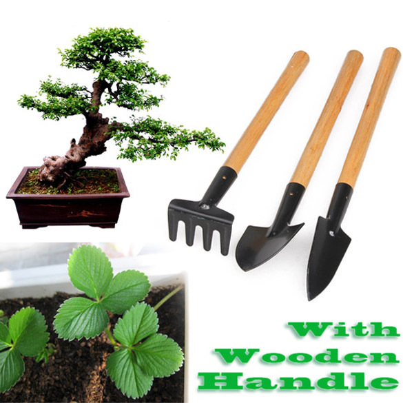 Wooden Handle Gardening Tools 3pcs Mini Shovel Rake Garden Plant Tool Set