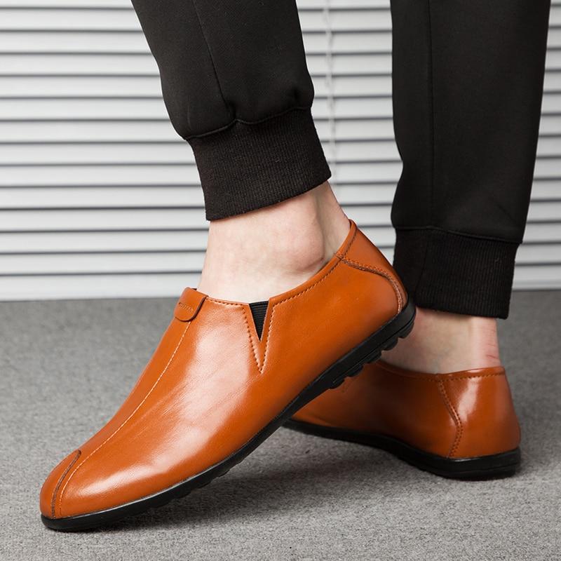 NINYOO ainulaadne disain Meeste vabaajajalatsid Ehtne nahast kingad - Meeste jalatsid - Foto 6