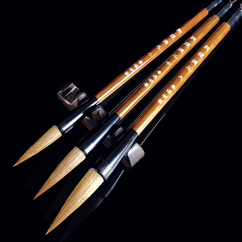 Excellent Weasel Hair Quality Chinese Calligraphy Brushes Regular Script Writing Brushes Painting Supplies Calligraphy Brushes 3 pcs chinese calligraphy brushes weasel hair brushes pen for painting calligraphy artist supplies