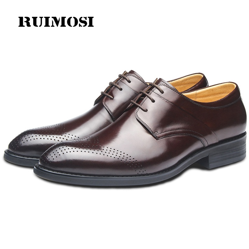 RUIMOSI Vintage Breathable Man Wedding Shoes Genuine Leather Formal Dress Oxfords Round Toe Derby Bridal Men's Footwear GD51